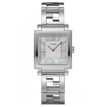 F605034000 Fendi Quadro Medium Silver Dial Womens Watch 25mm