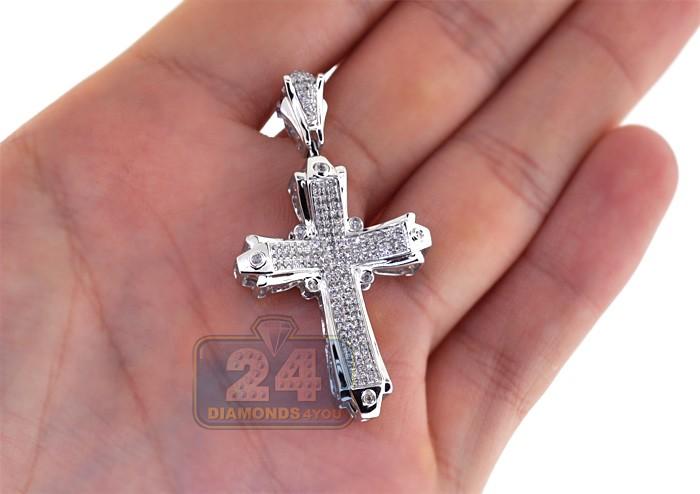 Mens Diamond Pave Religious Cross Pendant 14k White Gold 0