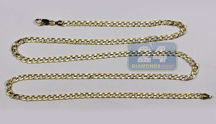 04776d2885b6c Solid 10K Yellow Gold Mens Concave Curb Chain 4mm 26 Inches