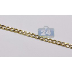 Solid 10K Yellow Gold Mens Concave Curb Chain 4mm 26 Inches