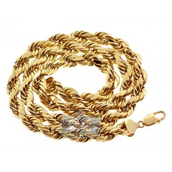 Italian 10K Yellow Gold Hollow Rope Mens Chain 9 mm