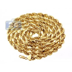 Italian 10K Yellow Gold Hollow Rope Mens Chain 8 mm