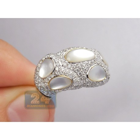 14K Yellow Gold 4.52 ct Diamond Womens Dome Opal Ring