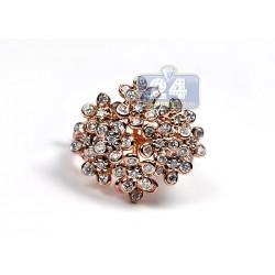 14K Rose Gold 1.80 ct Diamond Womens Cluster Flower Ring