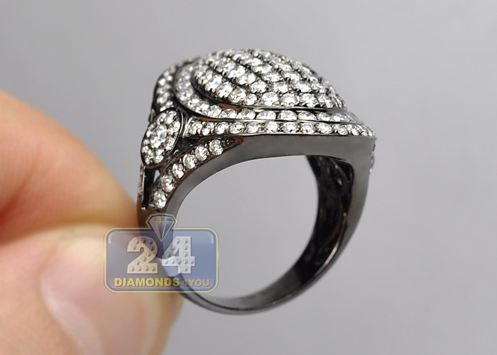Womens Diamond Oval Black Pvd Ring Signet 14k Gold 3 24 Ct