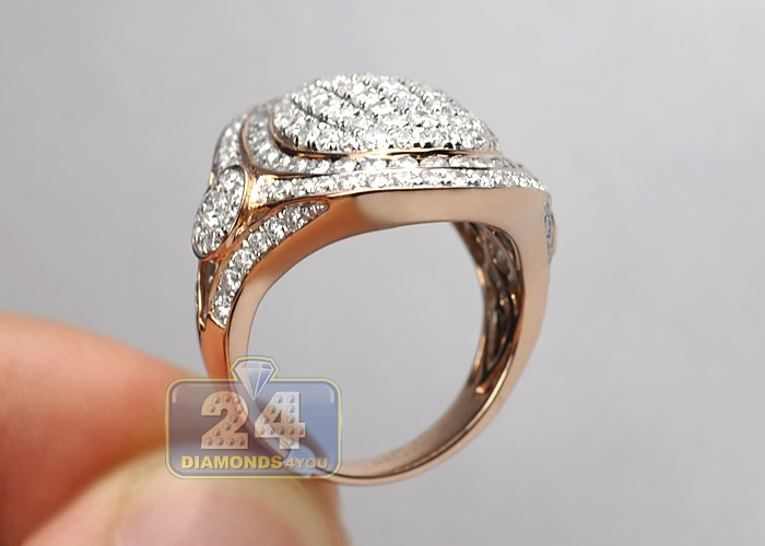 Womens 3 27 Ct Pave Diamond Oval Ring Signet 14k Pink Gold
