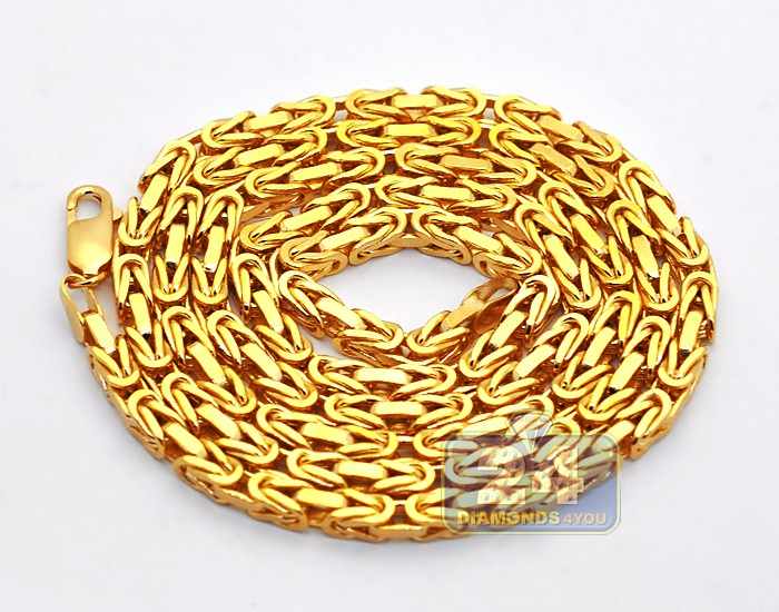 miami gold mm necklace chains s yellow link solid diamond cuban real chain p mens