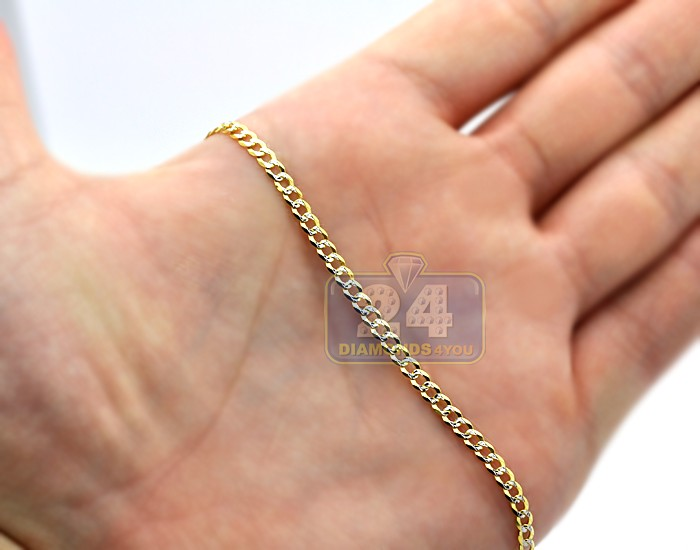 14k Yellow Gold Solid Cuban Diamond Cut Link Mens Chain 3 Mm