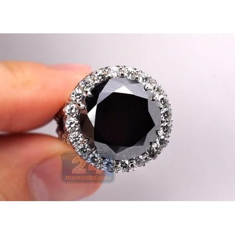 Womens Black Diamond Engagement Ring 18K White Gold 18.20 Carat