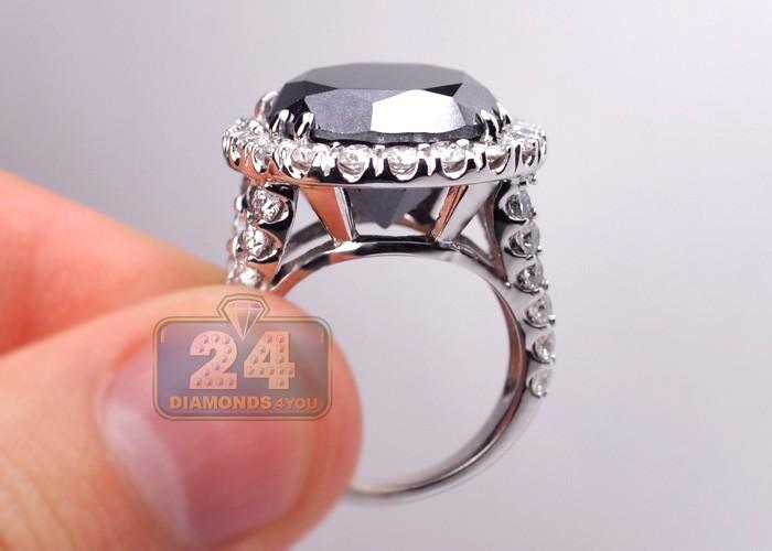 Womens Black Diamond Engagement Ring 18k White Gold 18 20