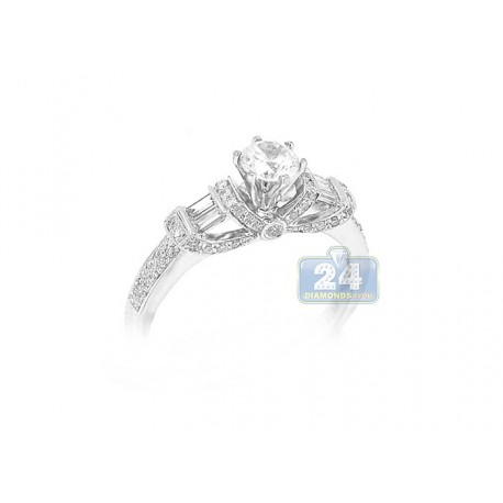 14K White Gold 0.39 ct Diamond Engagement Ring Setting