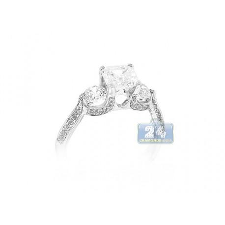 14K White Gold 0.24 ct Diamond 3-Stone Engagement Ring Setting