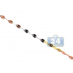 10K Three Tone Gold Fancy Link Womens Necklace 2 mm 20 Inches