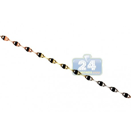 10K Three Tone Gold Fancy Link Womens Necklace 1.5 mm 18 Inches