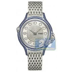 F105033000P4P02 Fendi Precious Pave Crazy Carats Blue Sapphire Watch 38mm