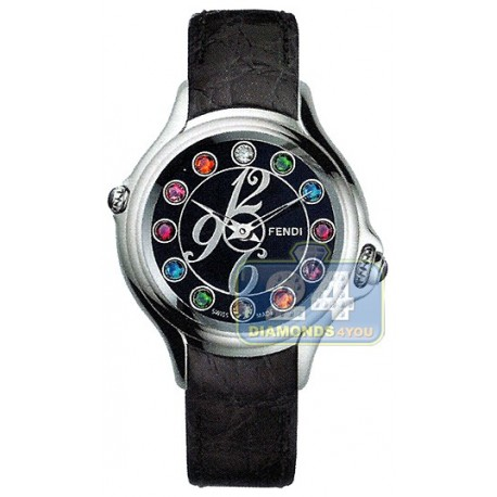 F104031011T05 Fendi Crazy Carats Black Dial Leather Watch 38mm