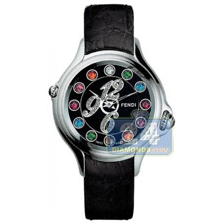 F104021011D1T05 Fendi Crazy Carats Diamond Dial Black Leather Watch 33mm