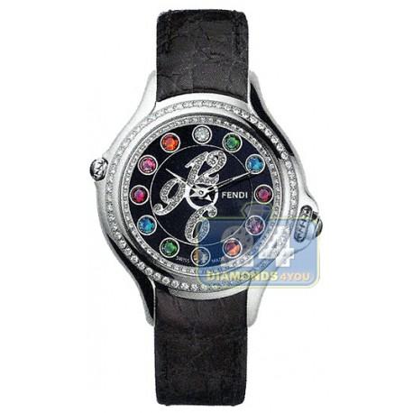 F104021011B3T05 Fendi Crazy Carats Diamond Black Leather 33mm Watch