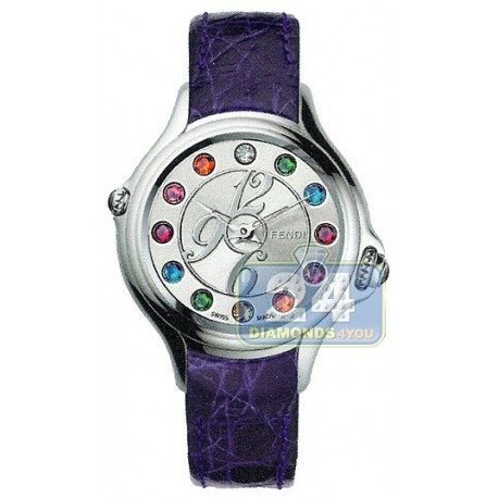 F104036033T05 Fendi Crazy Carats Purple Leather Silver Dial 38mm Watch