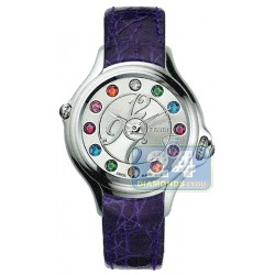 F104026033T05 Fendi Crazy Carats Purple Leather Silver Dial 33mm Watch