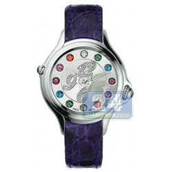 F104026033D1T05 Fendi Crazy Carats Diamond Dial Purple Leather Watch 33mm