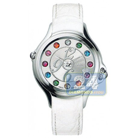 F104036041T05 Fendi Crazy Carats White Leather Watch 38mm