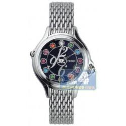 F105021000T05 Fendi Crazy Carats Black Dial Steel Bracelet Watch 33mm
