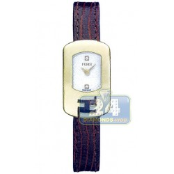 F300424021D1 Fendi Chameleon Brown Strap Womens Gold Watch 18mm