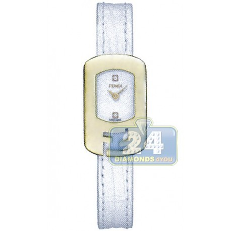 F300424041D1 Fendi Chameleon White Dial Womens Gold Watch 18mm