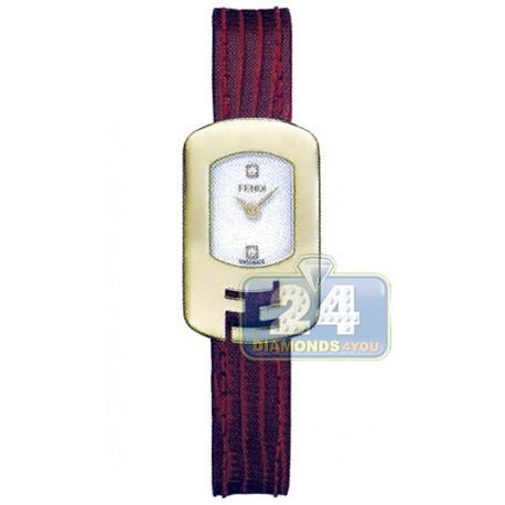 F300424073D1 Fendi Chameleon Red Strap Womens Gold Watch 18mm