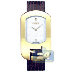 F300434021D1 Fendi Chameleon Yellow Gold Brown Strap Watch 29mm