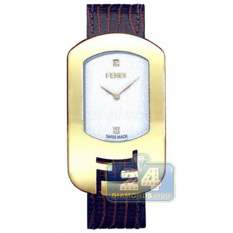 F300434021D1 Fendi Chameleon Yellow Gold Brown Strap Watch 29mm