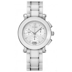 F662140 Fendi White Ceramic Round Chronograph Womens Watch