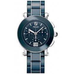 F663130 Fendi Blue Ceramic Round Chronograph Womens Watch 38mm