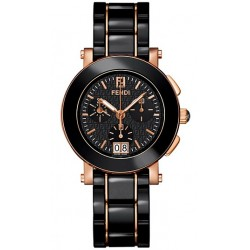 Fendi Black Ceramic Round Rose Gold Womens Watch F671110