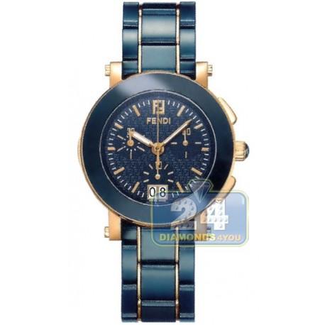 F673130 Fendi Blue Ceramic Round Chronograph Rose Gold Watch 38mm