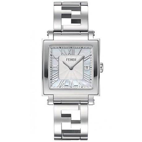 F605014000 Fendi Quadro Large White MOP Dial Womens Watch