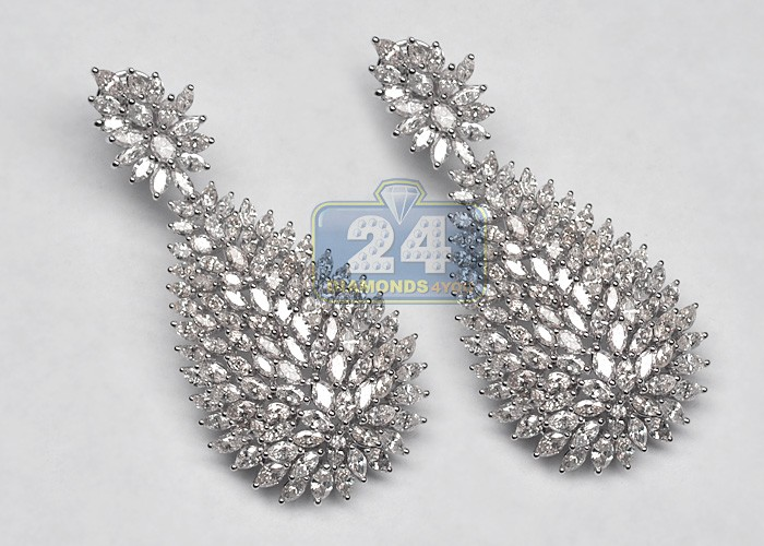 K White Gold Diamond Earrings