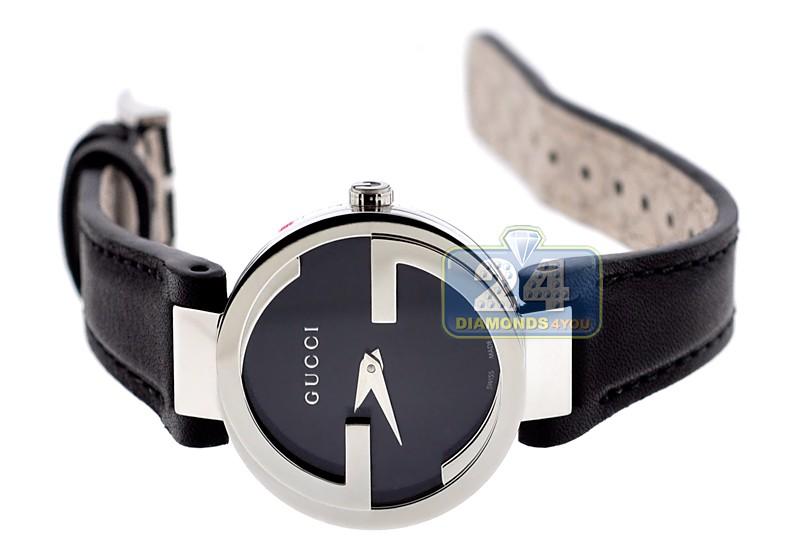 7b518ffe27f Gucci Interlocking Black Dial Womens Steel Watch YA133501