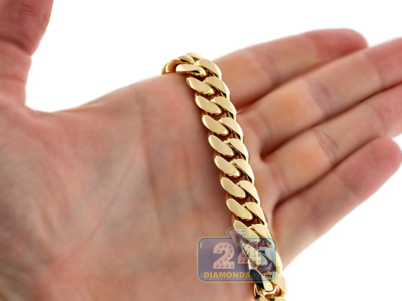"""10k Gold Cuban Link Chain >> Mens Miami Cuban Link Chain Solid 10K Yellow Gold 11mm 30"""""""