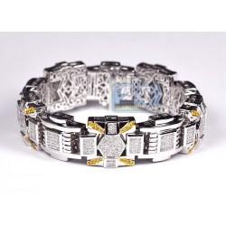 14K White Gold 9.40 ct Diamond Link Mens Bracelet 9 Inches