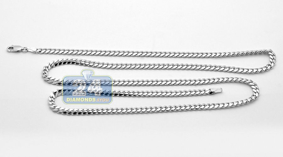 Real 14k White Gold Solid Miami Cuban Link Mens Chain 4 Mm