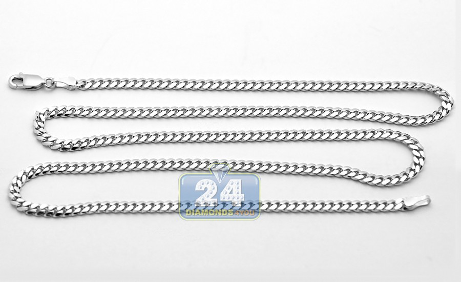 Solid 14k white gold miami cuban link mens chain 25 mm aloadofball Images