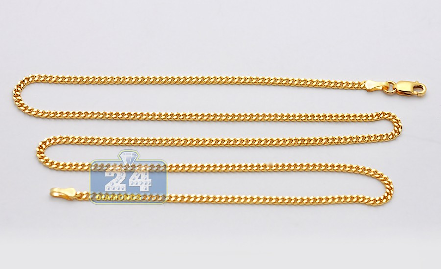 Solid 14k Yellow Gold Cuban Curb Link Mens Chain 2 Mm