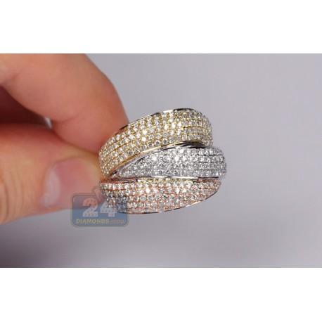 14K Three Tone Gold 3.06 ct Diamond Wide Triple Band Ring