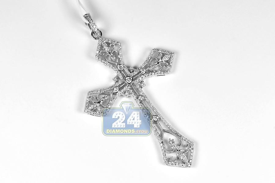 Mens Diamond Vintage Cross Pendant 14k White Gold 1 12ct 2 75 Quot
