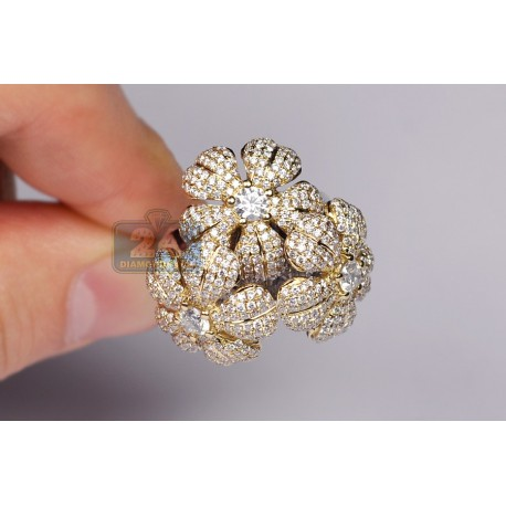 14K Two Tone Gold 3.54 ct Diamond 3 Flowers in 1 Womens Ring