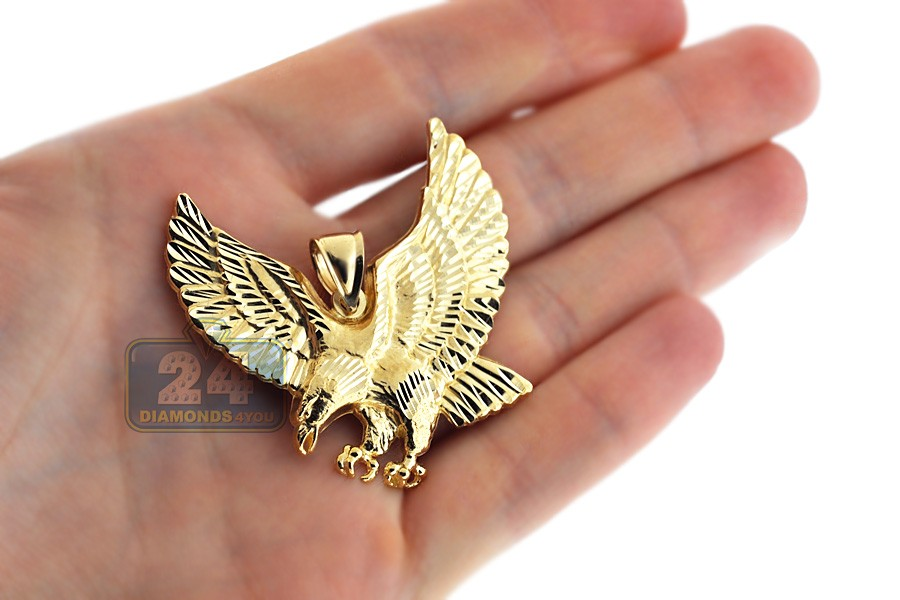 10k yellow gold eagle bird mens pendant next aloadofball Images
