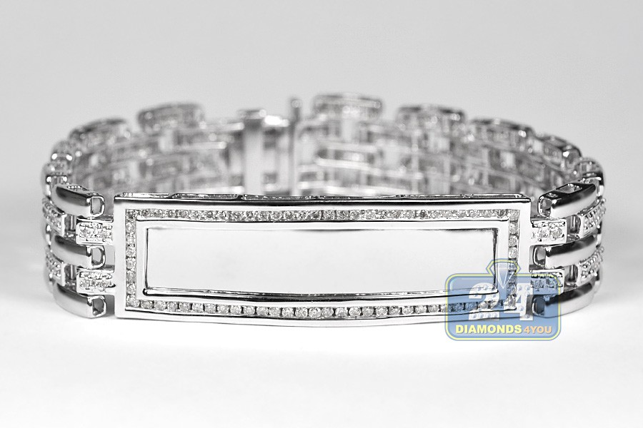 Mens Diamond Id Name Bracelet 14k White Gold 2 70 Ct 8 Inch
