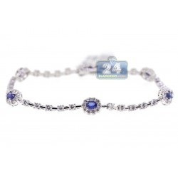 Womens Diamond Sapphire Station Bracelet 18K White Gold 3.74 ct